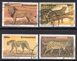 Zimbabwe 1992 Wildlife Conservation, Big Cats Set Of 4, Used, SG 822/5 (BA) - Zimbabwe (1980-...)