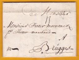 1724 - Lettre Avec Correspondance De 2 Pages En Flamand De Nantes Vers Brugge, Pays Bas Autrichiens - 1701-1800: Précurseurs XVIII