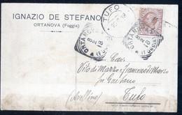 """ORTA NOVA - FOGGIA - 1918 - CARTOLINA COMMERCIALE  DITTA  """"DE STEFANO"""" - TIMBRO TONDO RIQUADRATO - Negozi"""