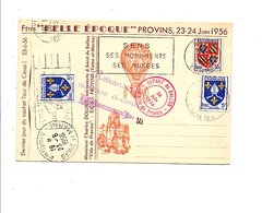 CARTE DE PROVINS TRANSPORTEE PAR BALLON LE VILLE DE PROVINS EN 1956 - 1921-1960: Période Moderne