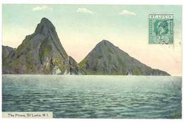 Cpa Antilles - Sainte Lucie / St Lucia - The Pitons   ( Volcan ) - Sainte-Lucie