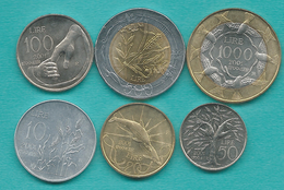 San Marino - 2001 - 10, 20, 50, 100, 500 & 1000 Lire (KMs 424-427; 429 & 430) - Saint-Marin