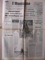 Journal L'Humanité (23 Sept 1969) Pompidou Aux Travailleurs - Syndicat Fonctionnaires - Jacques Brel - 1950 à Nos Jours