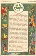 -ref-B73- Astrologie - Horoscope - Zodiaque - Cancer - Verso Publicité Mme Robert - Faubourg Saint Denis - Paris 10e - Astrologie