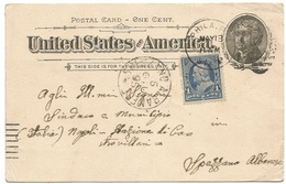 . USA Prexies C.1 Uprating PSC C.1 Philadelphia 13may 1895 To Italy Spezzano Albanese - 1847-99 Unionsausgaben