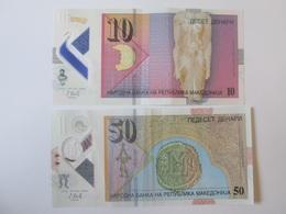 Lot Of 2 Macedonian Banknotes Polymer:10+50 Denari/Dinars 2018 - Macédoine