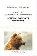Calendrier °° 1994 - Pharma 31 Lourtau - Ours Grizzly D'Alaska - 7x10 - Calendari