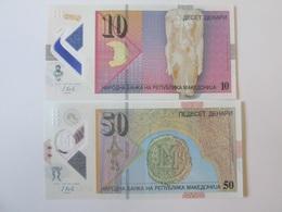 Lot Of 2 Macedonian Banknotes Polymer:10+50 Denari/Dinars 2018 UNC - Macédoine