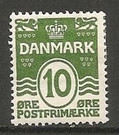 Yv. DK  N°  135  *  10o  Vert   Cote  1 Euro TBE  2 Scans - 1913-47 (Christian X)