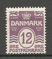 Yv. DK  N°  136  *  12o  Violet   Cote  18,5 Euro TBE  2 Scans - 1913-47 (Christian X)
