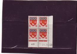 N°1182 - 80c Blason De TOULOUSE - A De A+B - 2° Tirage/1° Partie Du 19.11 Au 21.11.58 - 21.11.1958 - - Coins Datés