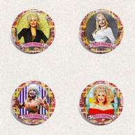140 X Dolly Parton Music Fan ART BADGE BUTTON PIN SET 5-8 (1inch/25mm Diameter) - Music