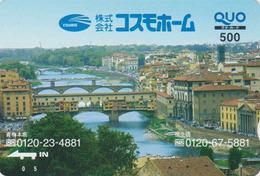 Carte Prépayée Japon - PONTE VECCHIO FIRENZE - PONT FLORENCE - BRIDGE ITALY Rel. Japan Prepaid QUO Card - Paisajes