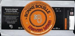 Etiquette Biere  Ambrée Bonne Bouille Harvest Moon  6%  33cl   Brasserie  La Bonne Bouille Pontarlier 25 - Bière