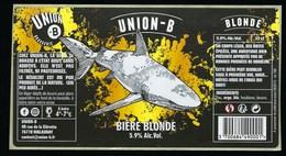"""Etiquette Biere  Blonde  Union B  5,9%  33cl   Brasserie Union B Malaunay 76 """"requin"""" - Bière"""