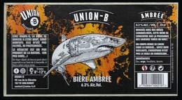 """Etiquette Biere Ambrée  Union B  6,3%  33cl   Brasserie Union B Malaunay 76 """"requin"""" - Bière"""