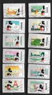 2018 - 204 - 1582 à 1593 - Mickey Et La France - Oblitéré - Sellos Autoadhesivos