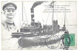 """Cpa Bateau De Guerre - U Boat """" Deutschland """" Largest In The World And Her Commander Captain Koenig, Postée D'Annapolis - Guerre"""