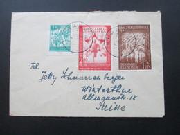 Jugoslawien 1947 Sporttage In Belgrad Nr. 521 Und 522 MiF Mit Nr. 471 Bedarfsbrief In Die Schweiz - Covers & Documents