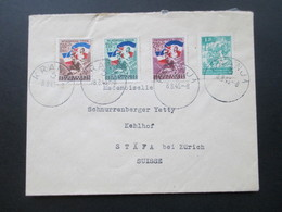 Jugoslawien 1946 Freiwilliger Eisenbahnbau Nr. 497-499 MiF Mit Nr. 471 Bedarfsbrief In Die Schweiz - Covers & Documents