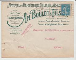 """PARIS : """" MATERIEL BRIQUETERIES TUILERIES & AGGLOS """" Boulet Et Fils / LSC De 1923 Pour Roubaix TB - 1921-1960: Période Moderne"""