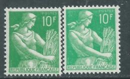 France N° 1115A C&f  XX Moissonneuse, 10 F Vert Foncé Et Ver Clair, Les 2 Nuances Sans Charnière,TB - Errors & Oddities