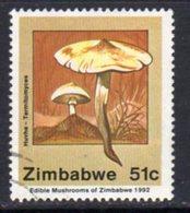 Zimbabwe 1992 Edible Mushrooms 51c Value, Used, SG 828 (BA) - Zimbabwe (1980-...)