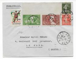 1938 - YT 330+331 Sur ENVELOPPE De LAVAL (MAYENNE) + VIGNETTE TUBERCULOSE De 1937 => LE MANS - Storia Postale