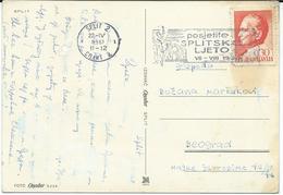 """Yugoslavia 1961 Split Postcard - Slogan / Flamme ,, Splitsko Leto """" - 1945-1992 République Fédérative Populaire De Yougoslavie"""