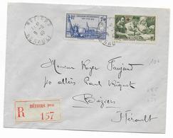 1940 - YT 458+459 Sur ENVELOPPE RECOMMANDEE De BEZIERS (HERAULT) - Francia