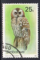 Zimbabwe 1993 Owls II 25c Wood Owl Value, Used, SG 850 (BA) - Zimbabwe (1980-...)