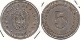 Panama 5 Centésimos 1966 Flat Stars KM#23.2 - Used - Panama