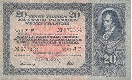 Billet 20 Francs Suisse Modèle 1929-1950 Pestalozzi 16/10/1947 Série 21 F Parfaitement Neuf - Suiza