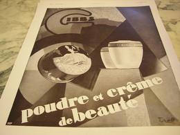 ANCIENNE PUBLICITE UNE CREME ET POUDRE DE BEAUTE GIBBS 1930 - Parfums & Beauté
