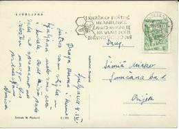 "Yugoslavia 1957 Ljubljana Postcard France Prešeren - Slogan / Flamme ,, ATM - Bee,insects,fauna"". - 1945-1992 Socialist Federal Republic Of Yugoslavia"