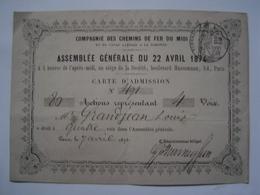 CARTE ADMISSION : ASSEMBLEE GENERALE / CHEMINS DE FER PLM 1874 - France