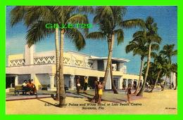 SARASOTA, FL -COCONUT PALMS & WHITE SAND AT LIDO BEACH CASINO - ANIMATED -  M. E. RUSSELL - - Sarasota
