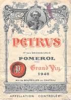 ETIQUETTE De VIN  PETRUS Grand Vin 1948 POMEROL 1er Des Grands Crus (2) -Vignoble Bordeaux -ETAT = Voir Description - Bordeaux