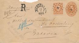 Nederlands Indië - 1892 - 10c Willem III Op R-Envelop G6 Van Kleinrond + Puntstempel Makassar Naar Batavia - Nederlands-Indië