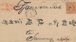 Nederlands Indië - 1882 - 10c Willem III, Envelop G5 Van Kleinrond- En Puntstempel REMBANG Naar Samarang - Nederlands-Indië