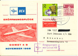 Germany Berlin Postal Stationery Uprated Eröffnungflüge BEA Comet 4 B Berlin 17-11-1968 - Berlin (West)