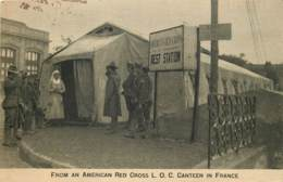 American Red Cross - Lot Of 2 Postcards - Canteen In France - Passed By Base Censor - War 1914-18