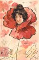 Belle Carte Gaufrée 1904 - Tete De Femme Dans Une Fleur - Femmes