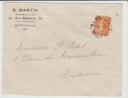 """GIRONDE: """" MARCHAND TAILLEUR S. Martin Rue Huguerie à Bordeaux / Yv 158 ROULETTE Seul / LSC - 1921-1960: Période Moderne"""