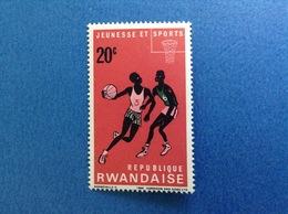 1966 RWANDA REPUBLIQUE RWANDAISE SPORT PALLACANESTRO BASKET 20 C FRANCOBOLLO NUOVO STAMP NEW MNH** - 1962-69: Nuovi