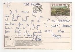 Beau Timbre , Stamp  Sur Cp , Carte , Postcard Du 21/01/1985 Pour La France - Maurice (1968-...)