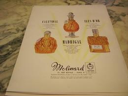 ANCIENNE PUBLICITE PARFUM CALENDAL ET ILES D OR DE MOLINARD 1949 - Parfums & Beauté