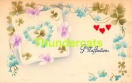 CPA EN RELIEF GAUFREE GAGE D'AFFECTION EMBOSSED CARD LOVE HEART COEUR - Saint-Valentin