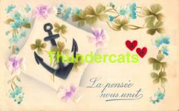 CPA EN RELIEF GAUFREE LA PENSEE NOUS UNIT EMBOSSED CARD LOVE HEART COEUR - Saint-Valentin