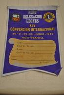 Rare Fanion Lion's Club Convention Internationale Pérou Juin 1962 - Organizaciones